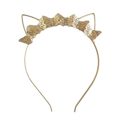 Milageto Elegante banda de hierro con banda para el pelo con diadema con forma de mariposa