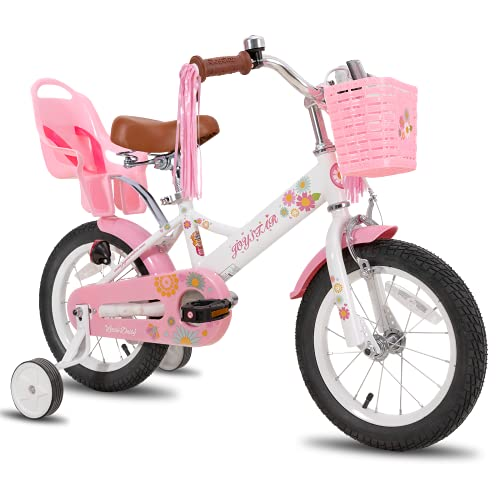 """JOYSTAR Little Daisy 16 Zoll Kinderfahrrad für 4 5 6 7 Jahre Mädchen mit Handbremse 16\"""" Kinder Prinzessinnenfahrrad mit Stützrädern Korb Streamer Kleinkinderfahrräder Weiß"""