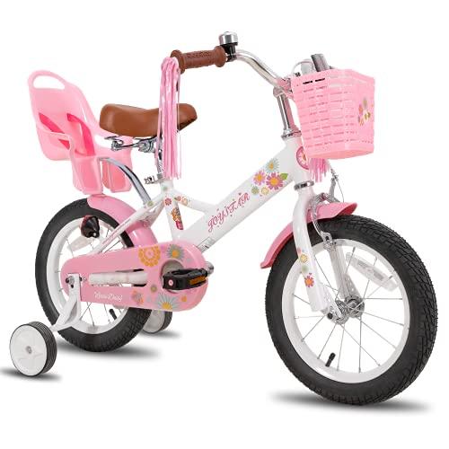 JOYSTAR Little Daisy 14 Zoll Kinderfahrrad für 3 4 5 Jahre Mädchen mit Handbremse Kinder Prinzessinnenfahrrad mit Stützrädern Korb Streamer Kleinkinderfahrräder Weiß