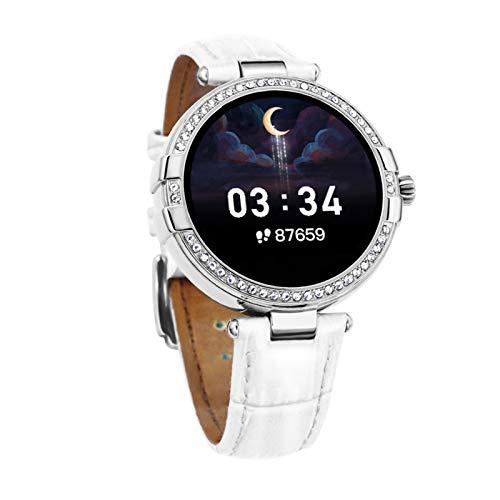 FMSBSC Mujer Smartwatch Pulsera Actividad con Medidor De Temperatura Corporal Pulsómetro, Reloj Inteligente para Deporte, Podómetro, Pulsera Deporte para Android Y iOS,Blanco