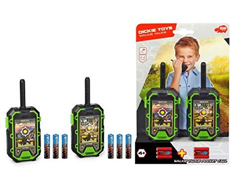 Dickie Toys 201118188 Walkie Talkie, Kinder Funkgerät, bis zu 400 m Reichweite, 434 MHz, Rauschunterdrückung, 2 Stück/Set, Spielzeug, 15 cm, inkl. Batterien, ab 4 Jahren, schwarz/grün