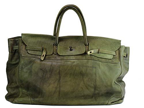 BZNA Bag Bella Grün verde XXL vintage Italy Designer Big Weekender Wochenend Business Tasche Ledertasche Tasche Leder Shopper Neu