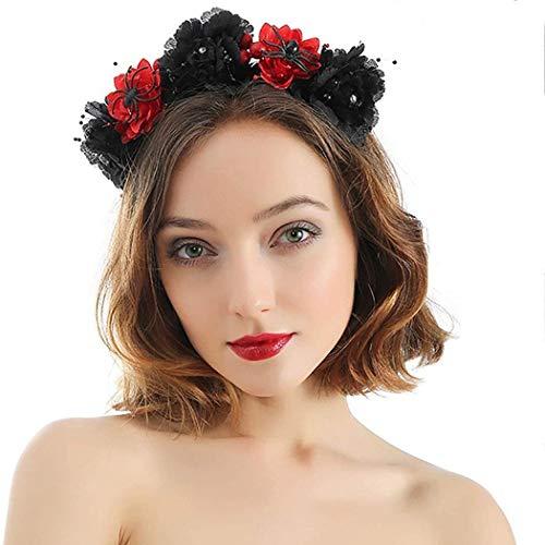 Yoli Diadema negra para disfraz de Da de los Muertos, con corona de rosas, para Halloween, accesorio para mujeres y nias