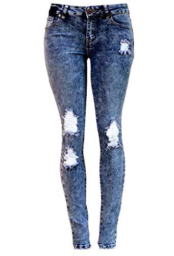 Womens Acid Wash Blue Denim Jeans Destroy Skinny Ripped Distressed High Waisted (15, Diamante DJ-X144R Blue)