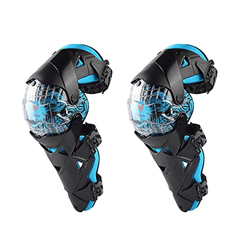 VOMI Rodilleras Enduro MTB, PC + PE Shell, Protección de Rodilla Adultos Espinillera Moto Hombre para Bici Motocross Motocicleta Ciclismo, Negro Blanco/Azul/Amarillo,Azul
