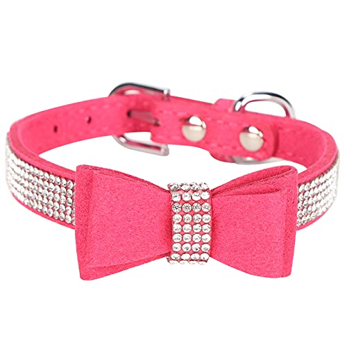 Collares para perros y gatos con diamantes de imitación, collares para cachorros de diamantes de imitación, collar para perros de cristal con pajarita, gamuza, microfibra, lazo doble(Rosa roja XS)