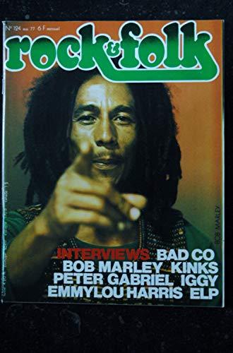 ROCK & FOLK 124 MAI 1977 COVER BOB MARLEY BAD CO KINKS PETER GABRIEL IGGY EMMYLOU HARRIS ELP
