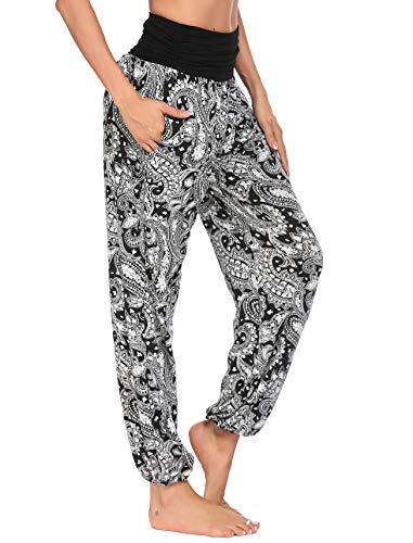 Parabler Spodnie damskie haremki spodnie pulowerowe długie spodnie alladynki z kwiatowym wzorem czarne XL