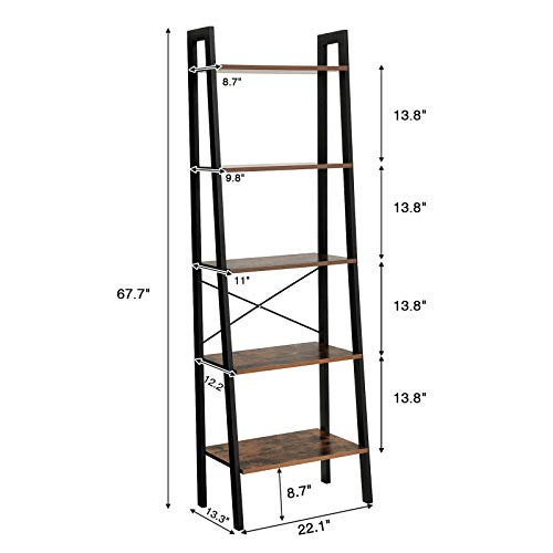 VASAGLE Industrial Ladder Shelf, 5-Tier Bookshelf, Bookcase and Storage Rack, Wood Look Accent Furniture with Metal Frame, for Home Office, Rustic Brown ULLS45X, 22.1