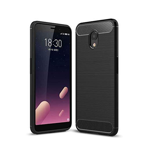 Ycloud Flexible Hülle für Meizu M6S Smartphone, Leichte TPU Silikon Stoßfest Schutzhülle Rutschschutz Kratzfest Rückseite Case Kohlefaser Design (Schwarz)