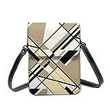 Bandolera pequeña para mujer, color beige, negro, blanco, diseño diagonal abstracto para teléfono celular, cartera multiusos, de piel sintética suave
