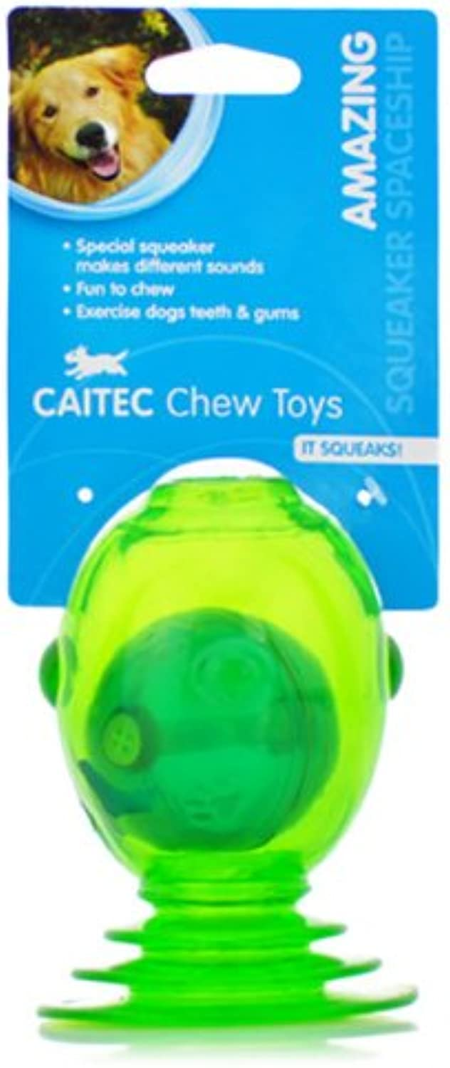 CAITEC Chase N Chomp Squeaker Spaceship Toy for Pets