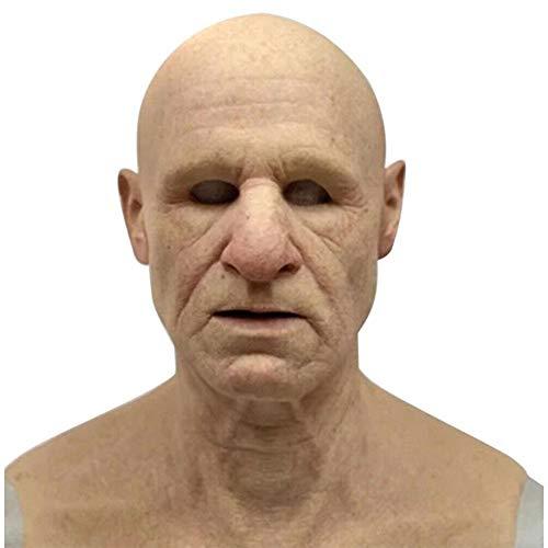 Máscara de cabeza de cara de arrugas humanas de látex realista para...