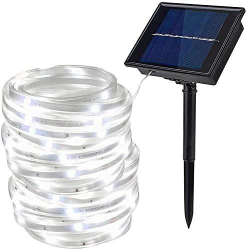 Solar Strip Light, EONANT 100LED 16.4ft/5M Impermeabile SMD2835 LED Luce del Cordone di Umore del Nastro per Giardino, Cortile, Sentiero, Recinzione, Scale, Cortile, Patio Decorativo (Cold White)