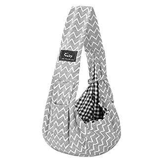 CUBY Reversible Pet Sling Carrier Hands-free Sling Pet Dog Cat Carrier Bag Soft Comfortable Puppy Kitty Rabbit Double-sided Pouch Shoulder Carry Tote Handbag (gray) 20