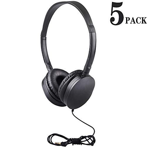 Classroom Headphones Bulk for Kids 5 Pcak, Hongzan Durable Headphones for School Students Children Boys Girls and Adults (Black)