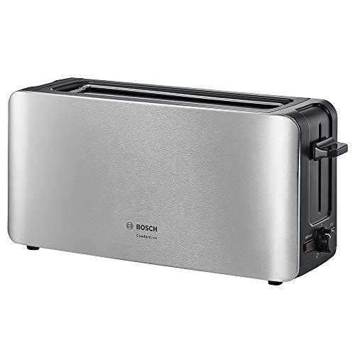 Bosch TAT6A803 Tostador compacto, centrado automático del pan, función descongelación, 1.090 W, acero inoxidable/negro