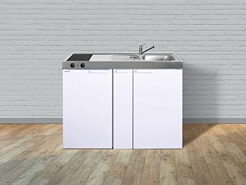Stengel Miniküche Kitchenline MK 120 A kleine Küchenzeile mit Kühlschrank, Ausziehschrank und Kochfeld, Pantryküche, Kompaktküche - Farbe: weiß/Breite: 120cm