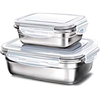 GA Homefavor Fiambreras Caja de Almuerzo de Acero Inoxidable para Alimentos Ensalada de Frutas Recipiente (Blanco, Conjunto de 2)