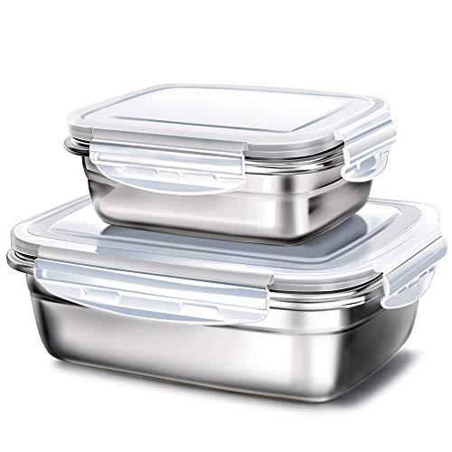 GA Homefavor Boîte à Déjeuner Boîte à Repas Box à Lunch en Acier Inoxydable Couvercle en Plastique Contenant de Salade de Fruits Récipient pour Le Stockage de la Nourriture (Ensemble de 2 pièce)