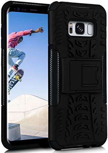 ONEFLOW Tank Hülle kompatibel mit Samsung Galaxy S8 - Hülle Outdoor stoßfest, Handyhülle mit Ständer, Kamera- & Displayschutz, Handy Hardcase Panzerhülle, Obsidian - Schwarz