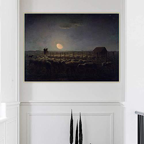 Jean Francois Millet ?Fårviken, månsken? rum Decor Duk Vägg målning Art Wall Decorations For Living Room decor 60x80cm 24x32 (inramad)