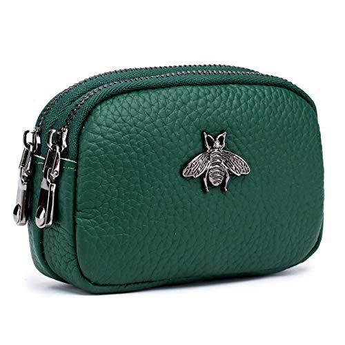 imeetu Women Leather Coin Purse, Small 2 Zippered Change Pouch Wallet(Green)