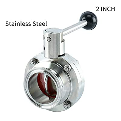 """Homend 2 Pack 1.5"""" Tri Clamp Sanitary Butterfly Valve with Pull Handle Stainless Steel 304 Tri Clamp Clover (1.5"""" OD:38.1MM; Ferrule Size: 50.5MM) from Homend"""