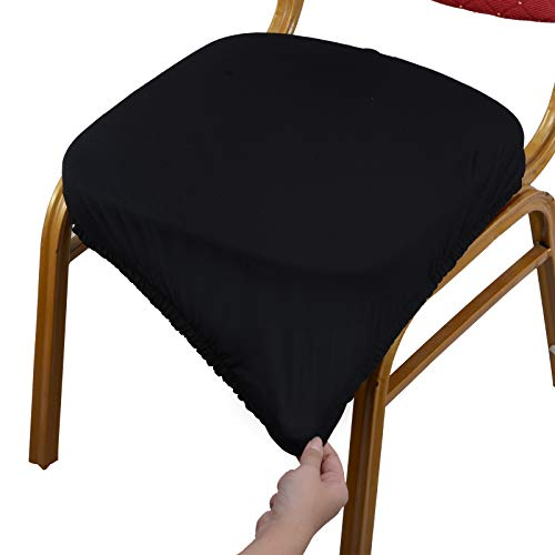 Voilamart Dining Chair Seat Covers, Pack of 4, Seat Covers for Dining Room Chairs, Stretchy Removable Washable Chair Seat Covers - Black