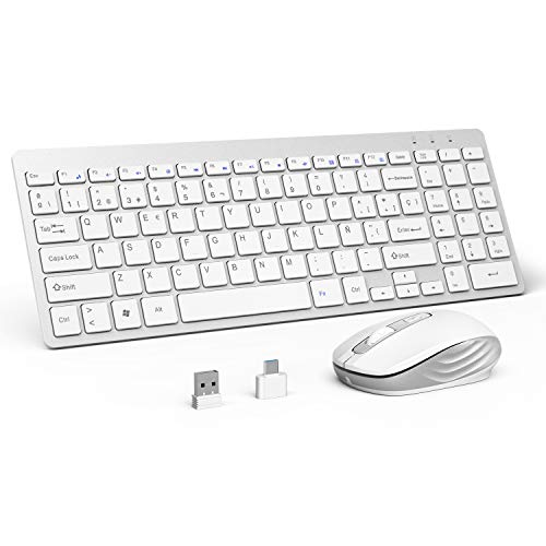 OMOTON Pack de Teclado y Ratón Inalámbrico 2.4Ghz, Teclado Español y Ratón Inlámbrico USB para Windows XP/ 7/8/ 10/ Vista, Color Blanco