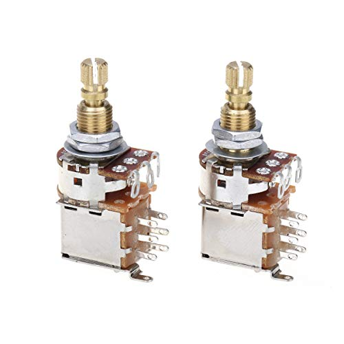 Musiclily Pro Messing Full Metrische Größe Split Shaft Control Poti A500K Push/Push Audio Taper Potentiometers für Gitarre (2er Set)