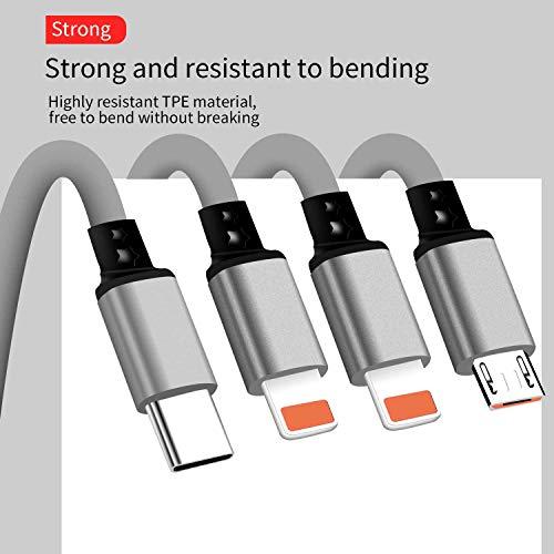 SDBAUX Multi 4 in 1 USB Kabel 1m,Schnelle Aufladung Einziehbares Ladekabel mit 8-Pin Typ C Micro USB Port Kompatibel mit Phone 12 11 XS Max XR X 8 7 Samsung Galaxy Google Pixel LG Huawei(Nur Aufladen)