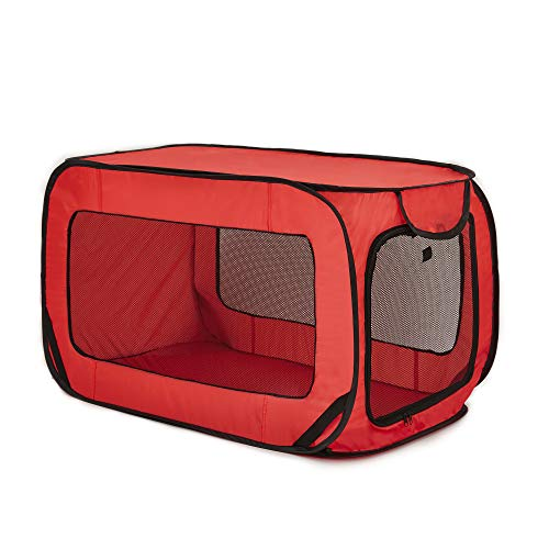 Love's cabin 36in Portable Large Dog Bed - Pop Up Dog Kennel, Indoor Outdoor Crate for Pets, Portable Car Seat Kennel, Cat Bed Collection, Red