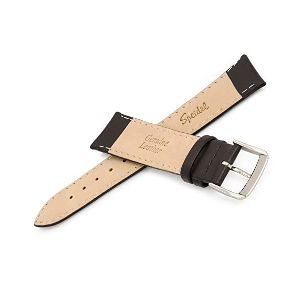 Speidel Genuine Leather Watch Band Black and Brown Stitched Calf Skin Replacement Strap,Stainless Steel Metal Buckle,Watchband Fits Most Watch Brands (16mm-24mm)