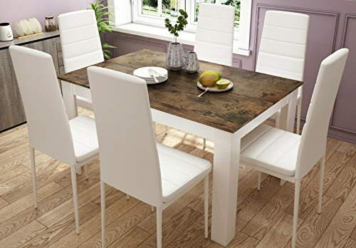 Luxury Goods White Dining Table and Chairs set 6 Vantage Look