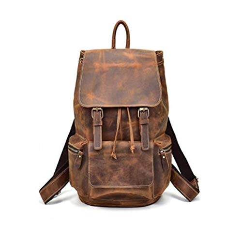 LeatherCrafts Brauner Vintage Büffelleder Rucksack Laptop Messenger Bag Rucksack Sling für Herren Damen Messenger Backpack