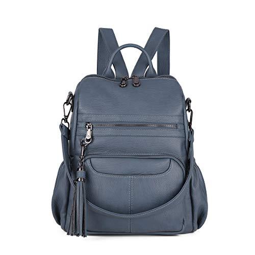 Women Bags Backpack Purse PU Leather Zipper Bags Casual Backpacks Shoulder Bags (DK8532#K273#5BLUE GREY)