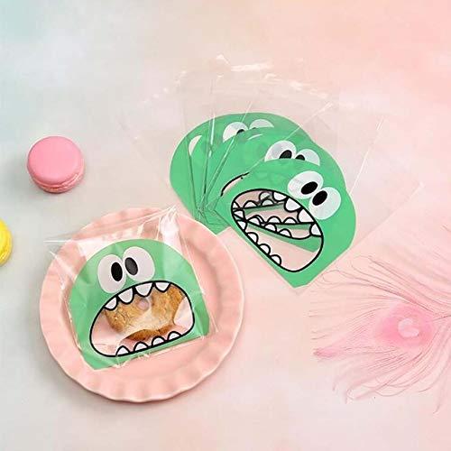 XIAOLIU Geschenkbox 100 Stücke Großen Mund Nette Monster Kunststoff Geburtstag Cookie Tasche Hochzeit Süßigkeiten Geschenk Verpackung Taschen OPP Selbstklebende Party Favors