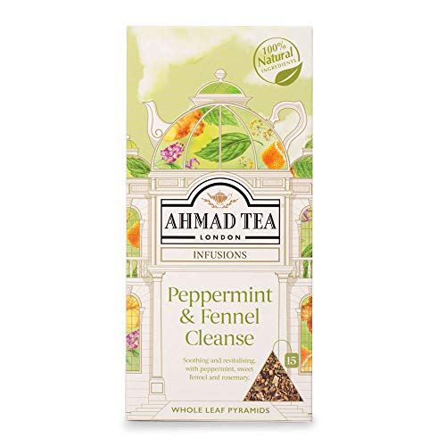 Ahmad Tea Peppermint & Fennel Cleanse Fruit & Herbal Infusion, Pyramid Teabags, 52 g, 15-Count
