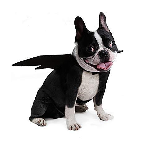 Coversolat Hunde Kostüm Fledermaus Flügel Schwarz Welpen Kleidung Karneval Haustierfeier Halloween (Schwarz, L)