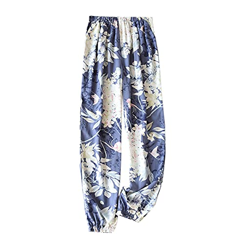 WJJKSLAOQ Nuevos Pantalones con Estampado Floral Primavera Y Verano SeccióN Delgada Pantalones Frescos Y para El Hogar De Mosquitos Pantalones De Pijama De RayóN Suave con Bolsillos para Mujer