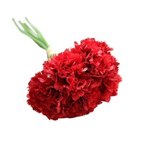 Elecenty Künstliche Nelke Blumen Unechte Blumen, 1 Blumenstrauß 6 Köpfe Deko Bouquet Gefälschte Kunstseide Blumen Kunstpflanze Kunstblumen Zum Hochzeitsblumenstrauß Party (26cm, A)