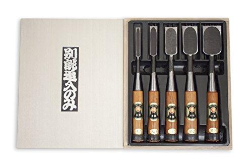 Marukatsu 5 Piece Japanese Yasuki Shirogami White Steel Chisel Set
