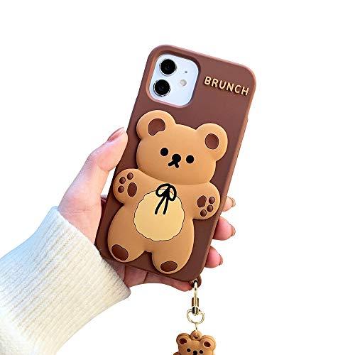 "USLOGAN Design Cute 3D Cartoon Soft Silicone Kawaii Fashion Case for iPhone 12 & 12 Pro Shell Girls Women Teenager (2020, 6.1"") (Bear with Pendant)"