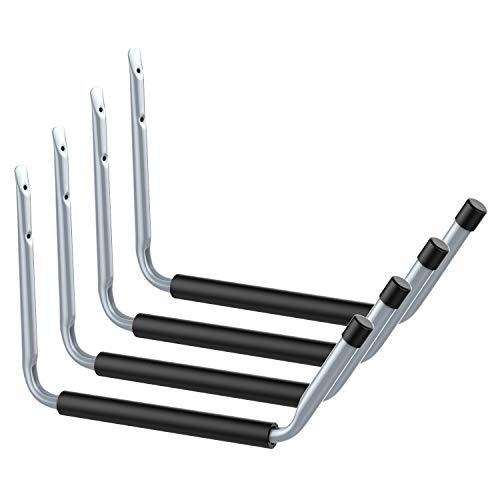 Housolution Heavy Duty Jumbo Arm Garage Hooks Set, 4 Pack Steal Utility Hooks Garage Storage Organizer Garden Hangers Wall Mount Cradle Set with 8PCS Screws and Anchors, Gray + Black Mat