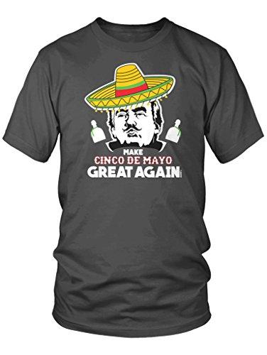 LOGOPOP Men's Donald Trump Make Cinco De Mayo Great Again T-Shirt, M, Charcoal