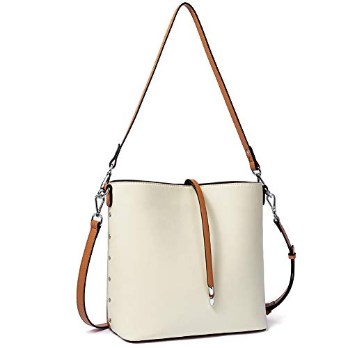 WESTBRONCO Women Handbags Vegan Leather Designer Shoulder Tote Purse Casual Hobo Crossbody Bucket Bags (Beige+Brown)