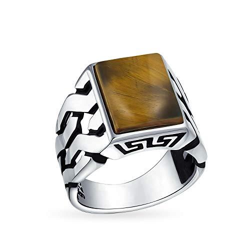 Piedras preciosas cubano Curb Link cadena banda tigre ojo rectángulo signet anillo para hombres 925 plata de ley hecha a mano en Turquía