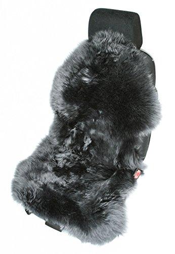 Leibersperger Felle Autofell Sitzauflage Sitzbezug Lammfell Naturform langwollig für Ledersitze (Anthrazit)