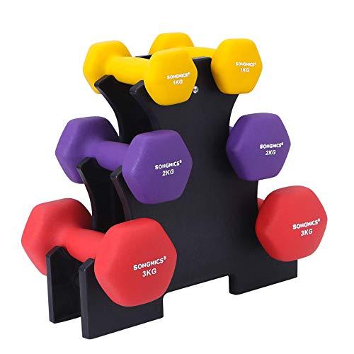 SONGMICS ダンベル ダンベルラック付き 6個セット 1kg×2+2kg×2+3kg×2 カラーダンベル 握りやすい 無臭素材 軽量 男女兼用 家族全員使用 筋トレ SYL12BK